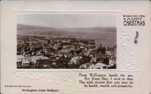 NEW ZEALAND NZ, Wellington, From Kelburn, HAPPY CHRISTMAS Old Postcard NZ128715
