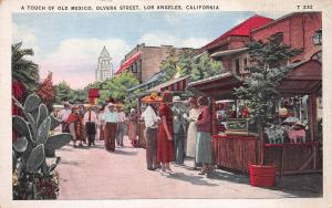 A Touch of Old Mexico, Olivera Street, Los Angeles, California, Postcard, Unused