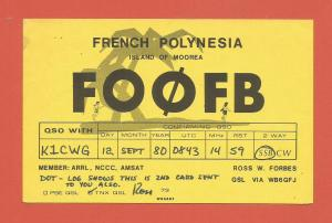 QSL AMATEUR RADIO CARD – MOOREA ISLAND - FRENCH POLYNESIA – 1980