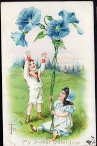 To My Sweet Valentine with Children and Morning Glory Flowers - pm1907 - Und/B
