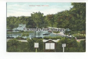 tq1523 - Surrey - An Early Boating Lake in Wandle Park, in Croydon - Postcard