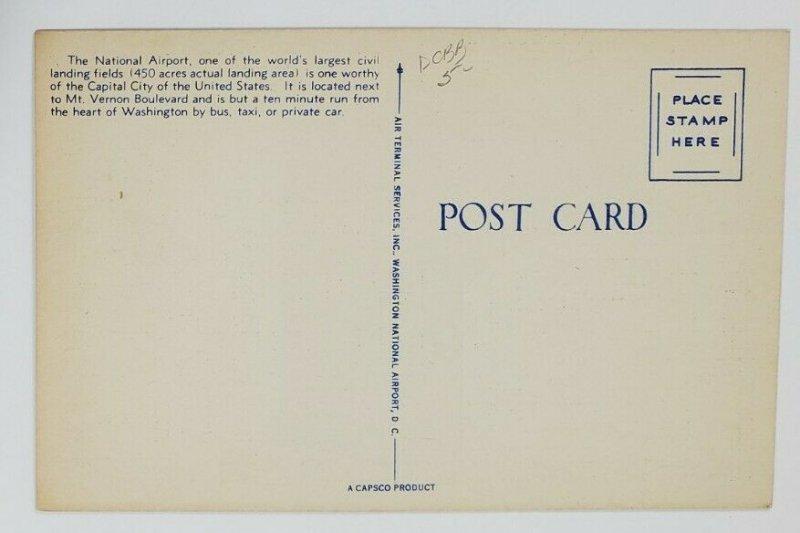 Washington DC Washington National Airport Airlines Ticket Counter Postcard Q18
