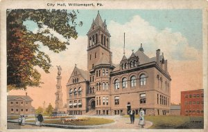 LPS09 Williamsport Pennsylvania City Hall Vintage Postcard
