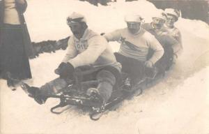 Winter Scene People on Sled Bobsleigh Bobsled Real Photo Antique Postcard J72526