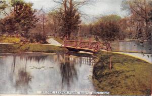 South Bend Indiana~Leeper Park~Rustic Bridge over Water~c1910 Postcard