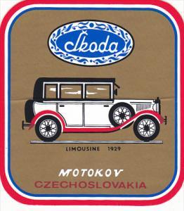 LIMOUSINE 1929 SKODA AUTO MANUFACTURING LABEL CZECHOSLOVAKIA