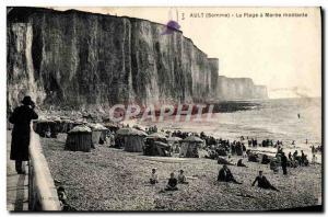 Old Postcard Ault La Plage rising Maree