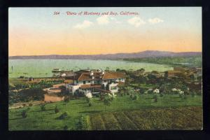 Monterey, California/CA Postcard, View Of Community & Bay