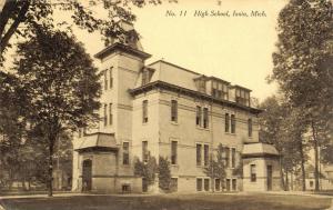 Ionia Michigan~Senior High School~Front & Back Doors~Houses~1910 B&W Postcard