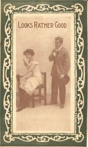Vintage Postcard 1919 Looks Rather Good Man Looking at Woman Siting in Chair