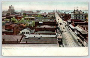 Pensacola Florida~Birdseye View of Harbor~Buildings-Shops Foreground~1908 TUCK