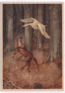 Fox & a Goose by Anton Pieck