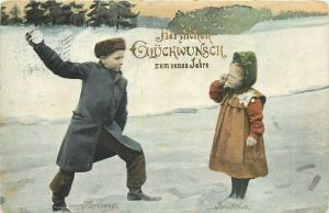 Antique 1902 New Year postcard children winter snow game snowballs fight