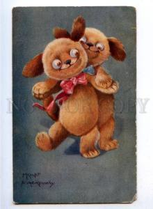 176498 Dressed DOGS Puppy Dance by KNICHT & KENNEDY Vintage PC
