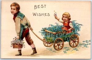 1910s Greetings Embossed Postcard BEST WISHES Boy Pulling Sister Flower Wagon
