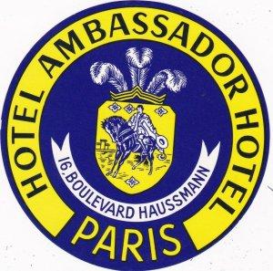 France Paris Hotel Ambassador Vintage Luggage Label sk2069