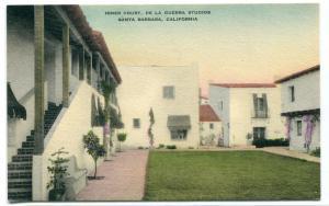 Inner Court De La Guerra Studios Santa Barbara California hand colored postcard