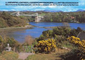 Wales Postcard, Menai Straight and Suspension Bridge, North Wales O82