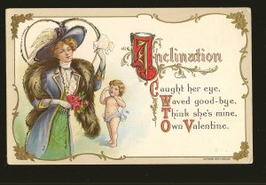 Copyright 1909 H Wessler Embossed Color Valentines Postcard Unposted