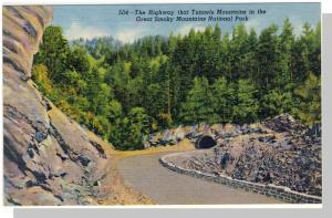 Smoky Mountains Nat'l Park,NC/TN Postcard,Highway,Near Mint