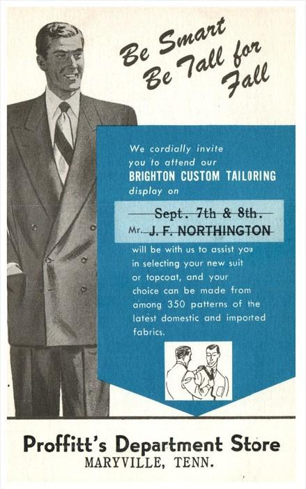 21709   Advertsing Proffitt's Dept.Store men's Suits, Topcoats, Mar...