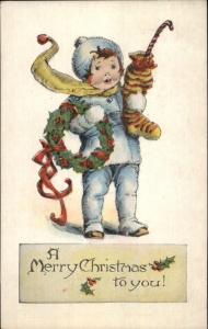 Christmas - Little Boy w/ Stocking & Wreath c1915 Postcard