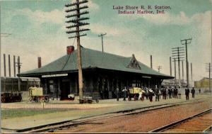 Indiana Harbor Indiana~Lake Shore RR Station~Men Gathered at Railroad Depot~1910