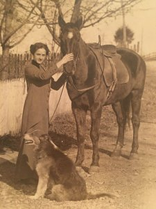 1900s Woman with  Horse and Dog RPPC Real Postcard Dress Sidesaddle AZO