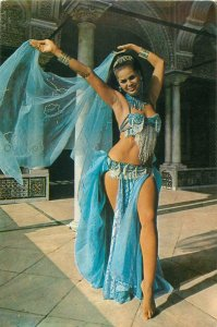 Tunisia dress dance dancers woman postcard blue