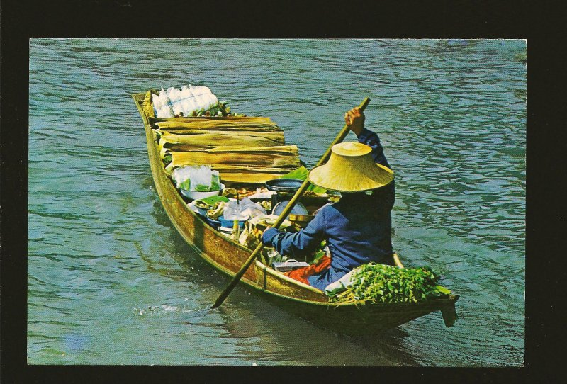 Thailand Boat Vendors Selling Fruit by Khlong 1960's Color Postcard Unposted