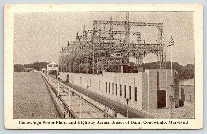 Conowingo Maryland~Conowingo Power Plant & Highway Across Breast of Dam~1930s