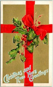 Vintage 1910s CHRISTMAS / New Years Greetings Postcard Red Ribbon Holly Leaves