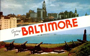 Maryland Baltimore Greetings Showing Fort McHenry Cannons and Skyline