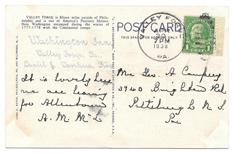PA Valley Forge National Park New Jersey Monument Dogwoods Vintage 1938 Postcard