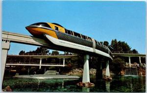 DISNEYLAND CA Postcard TOMORROWLAND Yellow Monorail Car & Submarine c1960s