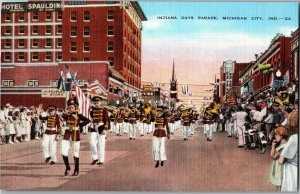 Indiana Days Parade Marching Band Michigan City IN Vintage Linen Postcard F34