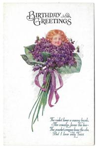 Birthday Fantasy Flower Face Child in Bouquet of Violets