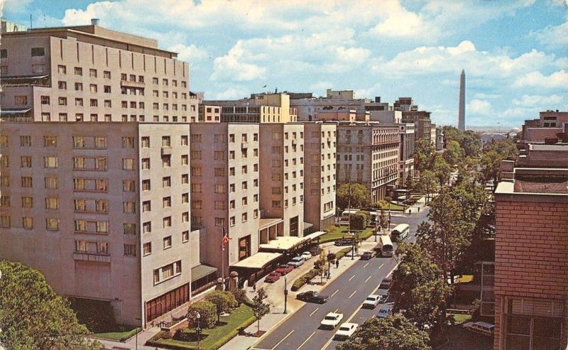 Washington DC~Statler Hilton Hotel~16th NW Between K&L Streets~1960s Cars~Bus