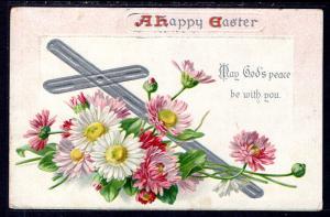 A Happy Easter,Flowers,Cross