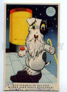 244416 Charming Dog w/ Clock & WALKING CANE Vintage Finland PC