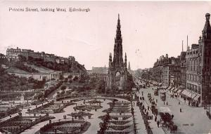 Princes Street Looking West, Edinburgh, Scotland, Early Postcard, Unused