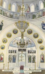 Greek Orthodox Church Interior - Tarpon Springs, Florida Linen