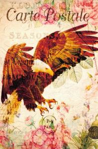 Postcard French Vintage Shabby Chic Style, Golden Eagle, Bird, Floral, 11K