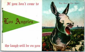LOS ANGELES California Postcard Donkey / Green Pennant Hee Haw! 1920 Cancel