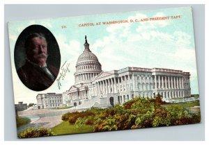 Vintage 1909 Presidential Postcard Capitol Building Taft Profile Washington DC
