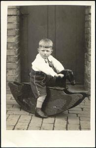 Young Boy on Rocking Horse (1934) RPPC