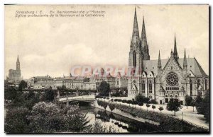 Strasbourg Old Postcard Protestant Church of the garrison and the Cathedral