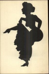 Art Deco Sexy Woman Semi Nude Silhouette Pasted on c1910 French Postcard #5