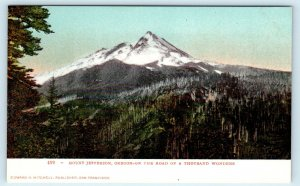 MT JEFFERSON, OR Oregon~View of Snow-covered Mountain  c1900s Mitchell Postcard