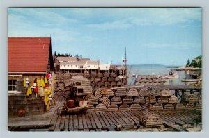 Bristol ME, New Harbor Village, Lobster Traps, Pots, Chrome Maine Postcard